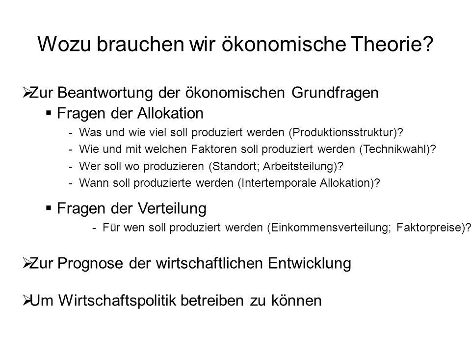 Wozu brauchen wir ökonomische Theorie?  Zur Beantwortung der ökonomischen Grundfragen  Fragen der Allokation - Was und wie viel soll produziert werd