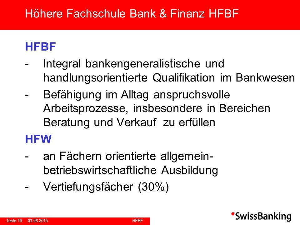 HFBF Seite 1903.06.2015 HFBF -Integral bankengeneralistische und handlungsorientierte Qualifikation im Bankwesen -Befähigung im Alltag anspruchsvolle
