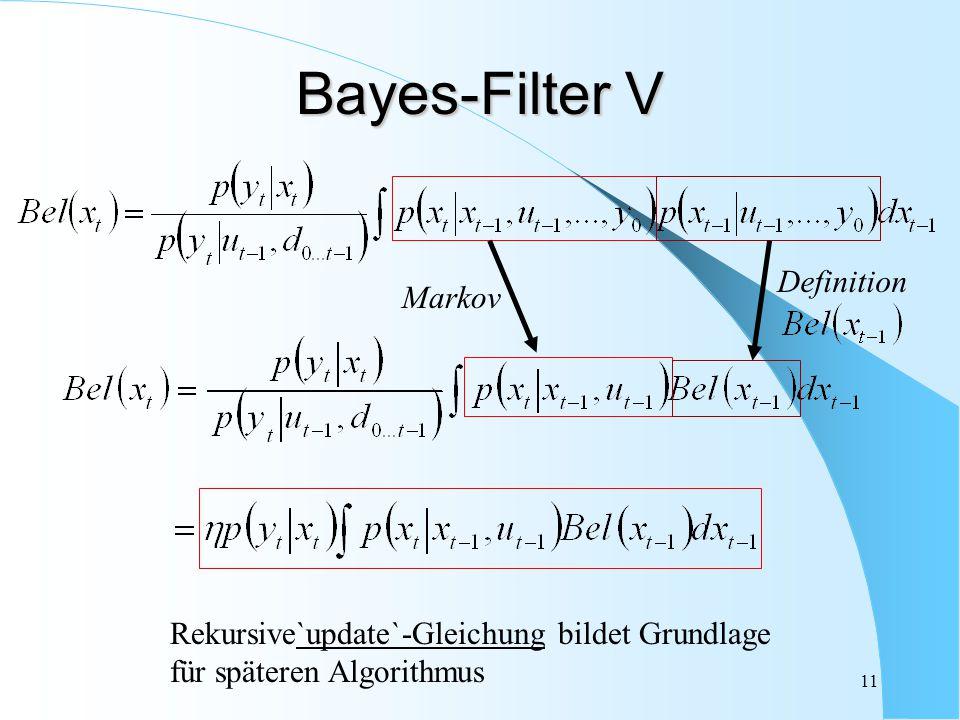 11 Markov Definition Bayes-Filter V Rekursive`update`-Gleichung bildet Grundlage für späteren Algorithmus