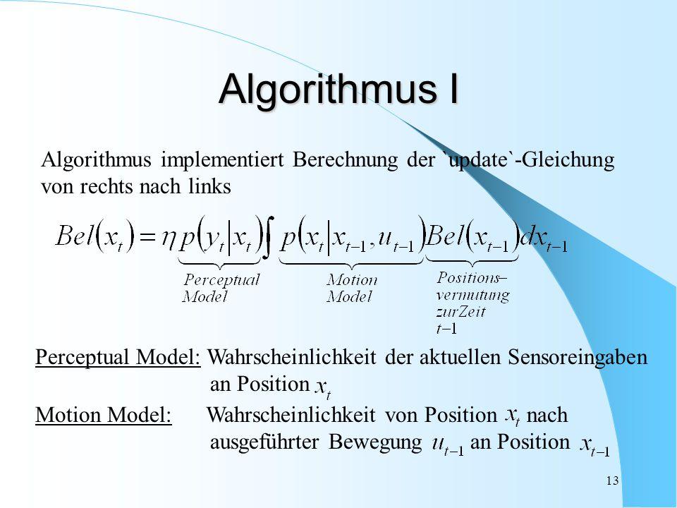 13 Algorithmus I Algorithmus implementiert Berechnung der `update`-Gleichung von rechts nach links Perceptual Model: Wahrscheinlichkeit der aktuellen