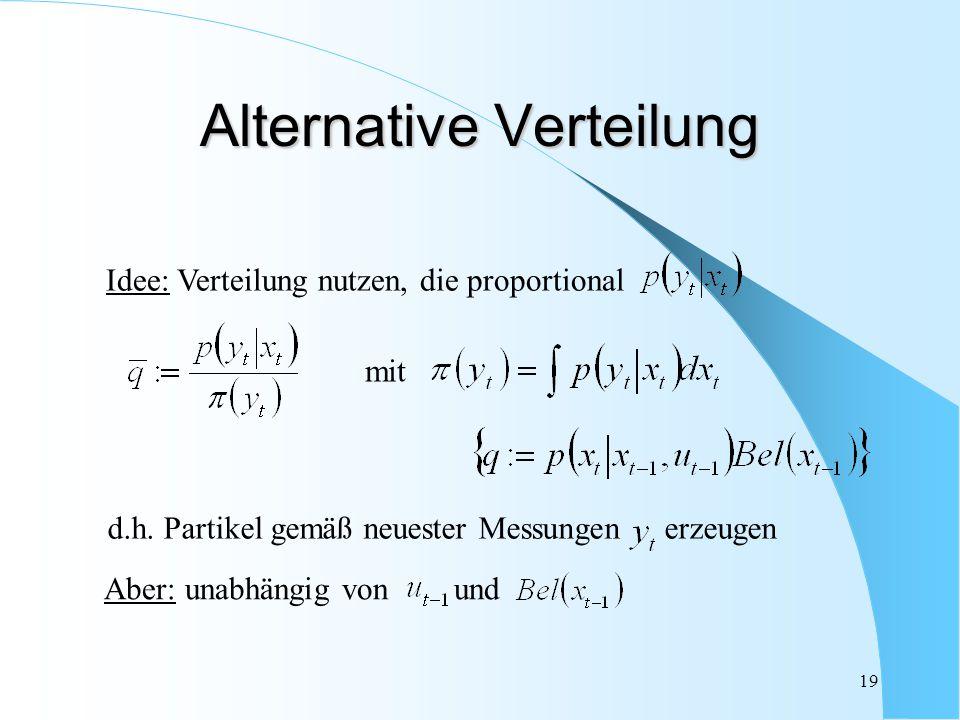 19 Alternative Verteilung Aber: unabhängig von und Idee: Verteilung nutzen, die proportional mit d.h. Partikel gemäß neuester Messungen erzeugen