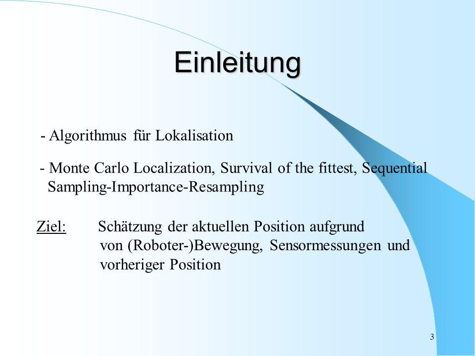 3 - Monte Carlo Localization, Survival of the fittest, Sequential Sampling-Importance-Resampling Ziel: Schätzung der aktuellen Position aufgrund von (