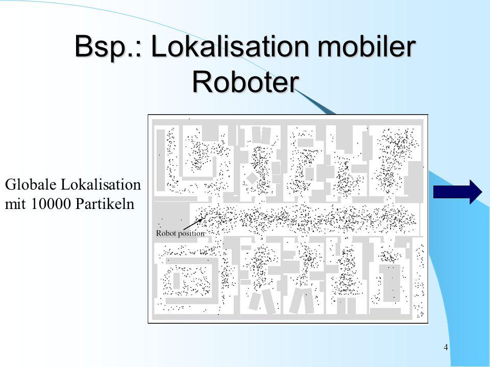 4 Bsp.: Lokalisation mobiler Roboter Globale Lokalisation mit 10000 Partikeln