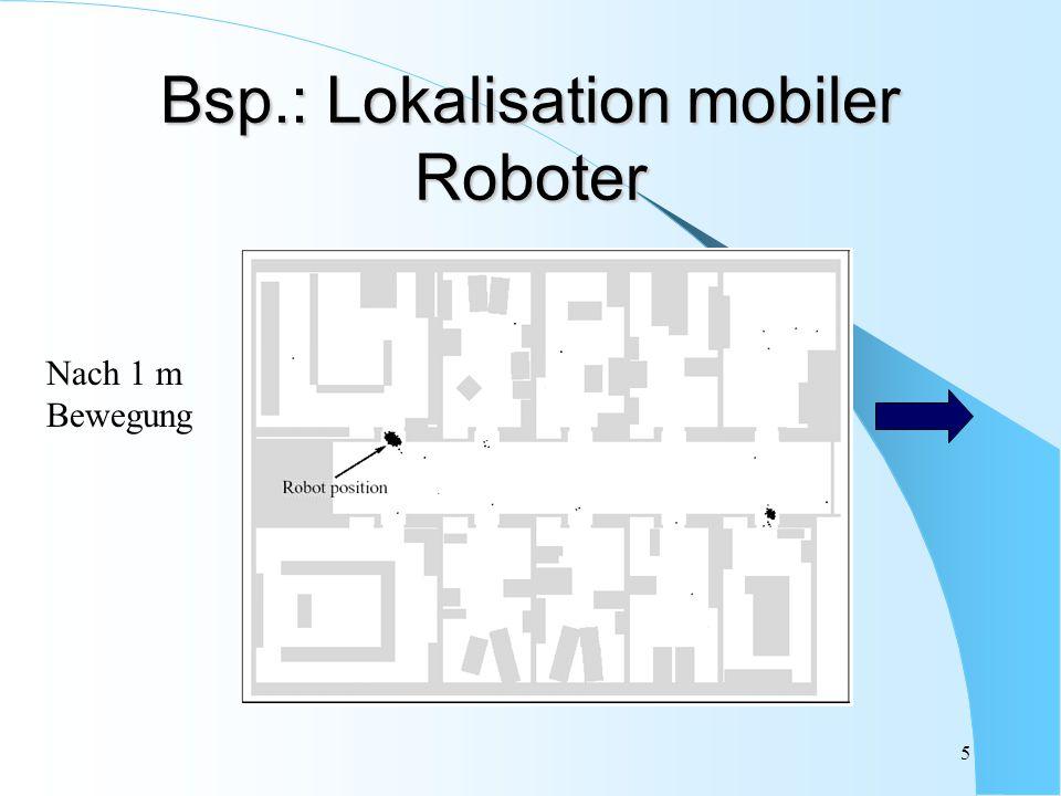 26 Rao-Blackwellization II Idee: Kalman-Filter und Partikelfilter kombinieren Aufteilung des Zustandsvektors Positions- ableitungen Anwendung des Kalman-Filters auf linearen Teil, Partikelfilter auf nicht-linearen Teil 3-dim Positions- koordinaten