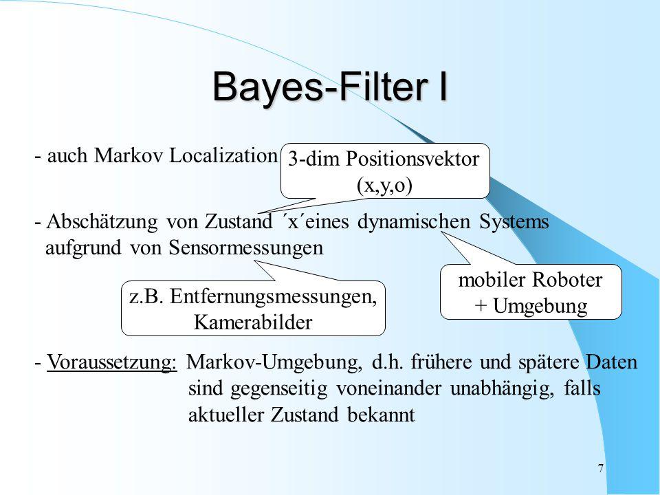 8 Bayes-Filter II Nutzung einer Wahrscheinlichkeitsverteilung über Menge aller potentiellen Positionen - Idee: Schätzung der a-posteriori-Wahrscheinlichkeitsdichte über dem Zustandsraum aufgrund bestimmter Daten Zustands- Vektor Daten von Zeitpunkt 0 bis t ´belief´