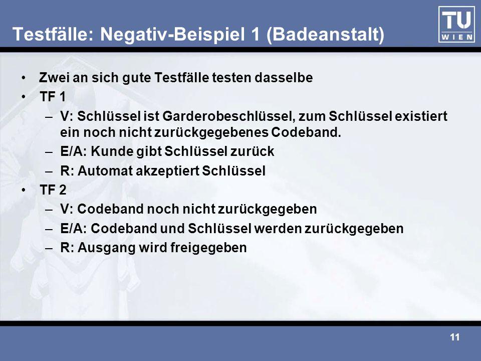 11 Testfälle: Negativ-Beispiel 1 (Badeanstalt) Zwei an sich gute Testfälle testen dasselbe TF 1 –V: Schlüssel ist Garderobeschlüssel, zum Schlüssel ex