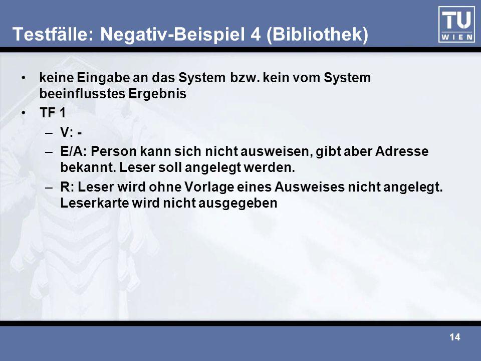 14 Testfälle: Negativ-Beispiel 4 (Bibliothek) keine Eingabe an das System bzw. kein vom System beeinflusstes Ergebnis TF 1 –V: - –E/A: Person kann sic