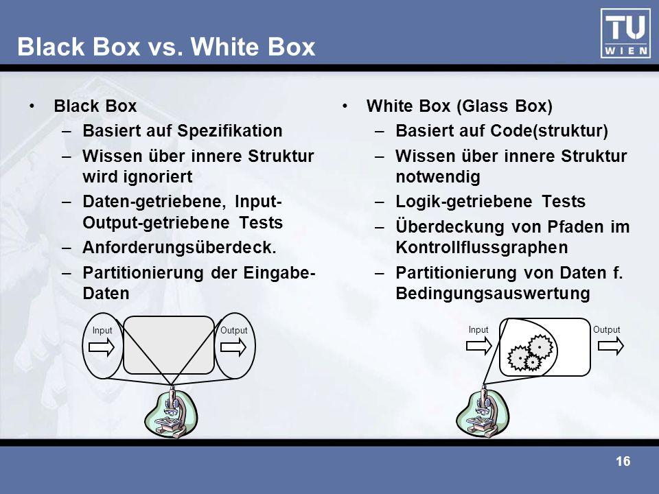 16 Black Box vs. White Box Black Box –Basiert auf Spezifikation –Wissen über innere Struktur wird ignoriert –Daten-getriebene, Input- Output-getrieben