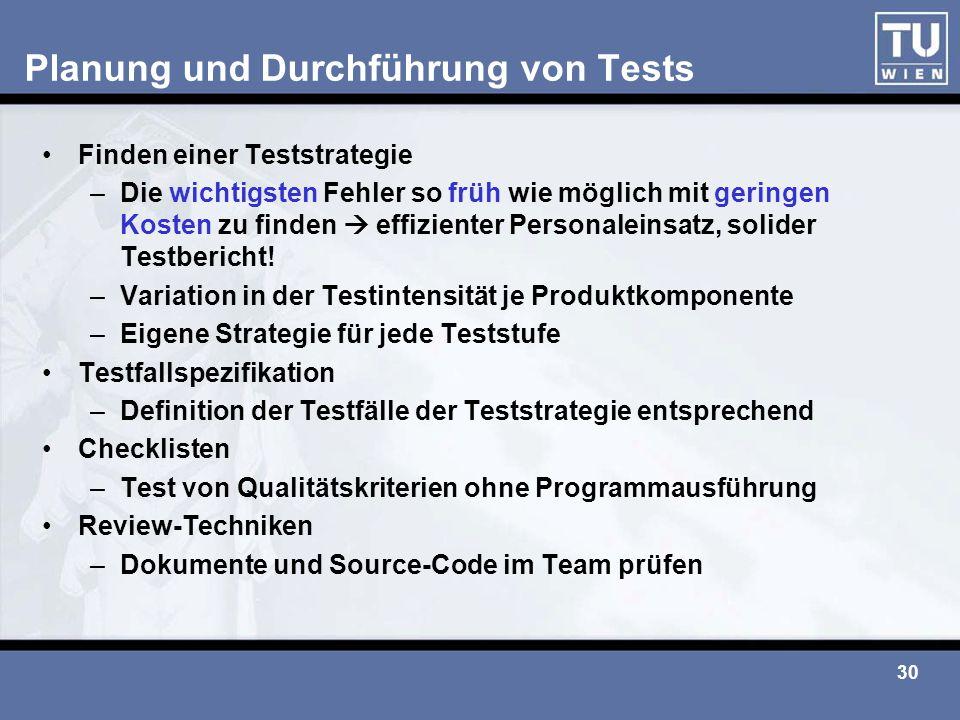 30 Planung und Durchführung von Tests Finden einer Teststrategie –Die wichtigsten Fehler so früh wie möglich mit geringen Kosten zu finden  effizient