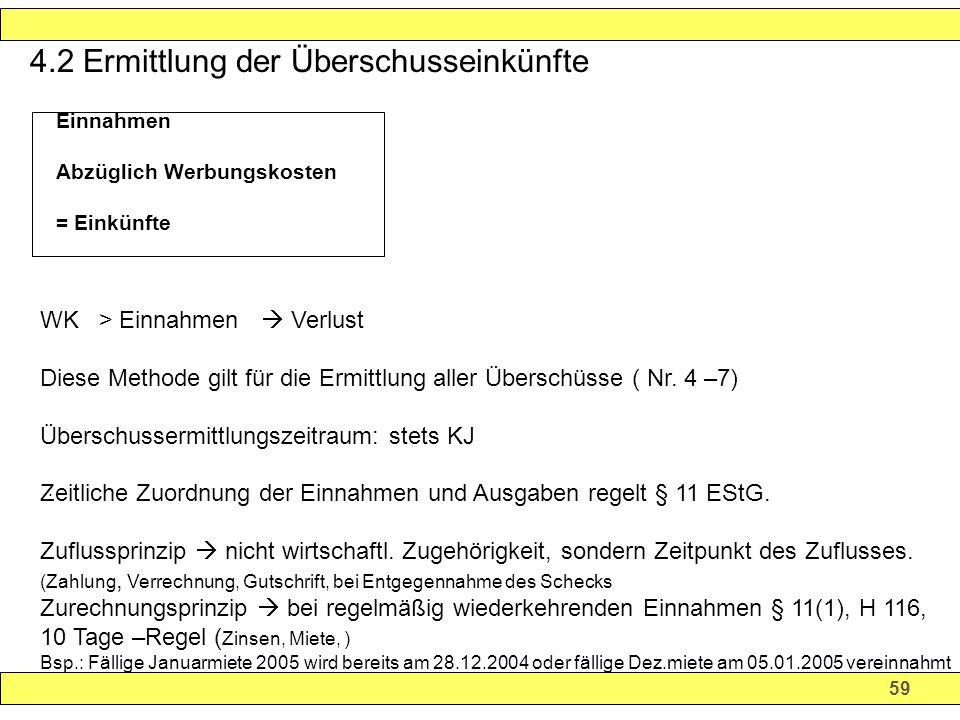 59 4.2 Ermittlung der Überschusseinkünfte.