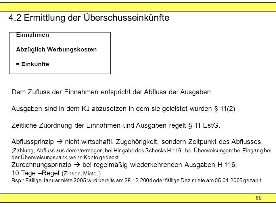 60 4.2 Ermittlung der Überschusseinkünfte.