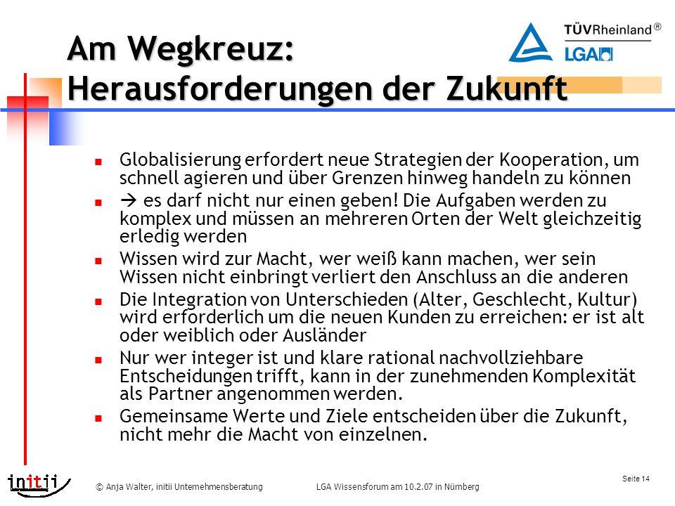 Seite 14 LGA Wissensforum am 10.2.07 in Nürnberg© Anja Walter, initii Unternehmensberatung Am Wegkreuz: Herausforderungen der Zukunft Globalisierung erfordert neue Strategien der Kooperation, um schnell agieren und über Grenzen hinweg handeln zu können  es darf nicht nur einen geben.