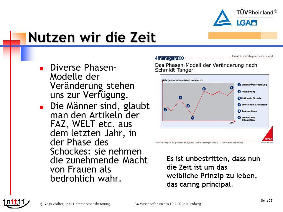 Seite 23 LGA Wissensforum am 10.2.07 in Nürnberg© Anja Walter, initii Unternehmensberatung Nutzen wir die Zeit Diverse Phasen- Modelle der Veränderung stehen uns zur Verfügung.