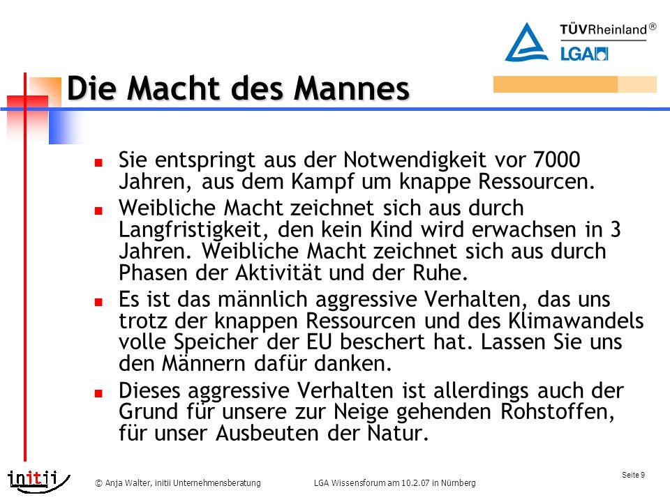 Seite 9 LGA Wissensforum am 10.2.07 in Nürnberg© Anja Walter, initii Unternehmensberatung Die Macht des Mannes Sie entspringt aus der Notwendigkeit vor 7000 Jahren, aus dem Kampf um knappe Ressourcen.