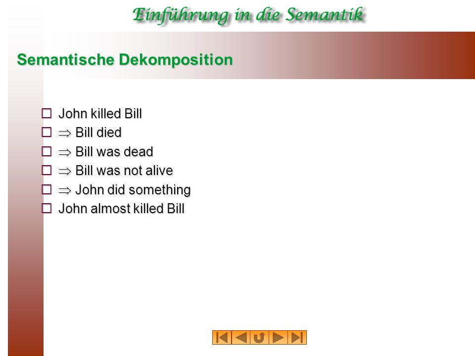 Semantische Dekomposition  John killed Bill   Bill died   Bill was dead   Bill was not alive   John did something  John almost killed Bill