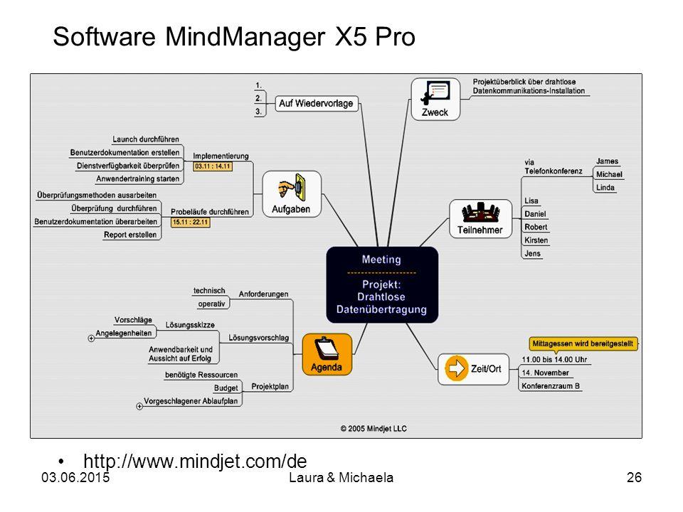 03.06.2015Laura & Michaela26 Software MindManager X5 Pro http://www.mindjet.com/de