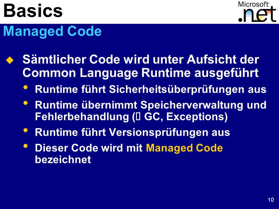 10  Sämtlicher Code wird unter Aufsicht der Common Language Runtime ausgeführt Runtime führt Sicherheitsüberprüfungen aus Runtime übernimmt Speicherverwaltung und Fehlerbehandlung (  GC, Exceptions) Runtime führt Versionsprüfungen aus Dieser Code wird mit Managed Code bezeichnet Basics Managed Code