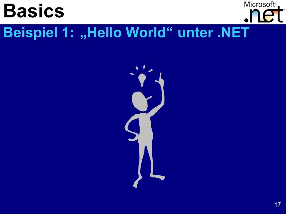 """17 Basics Beispiel 1: """"Hello World unter.NET"""