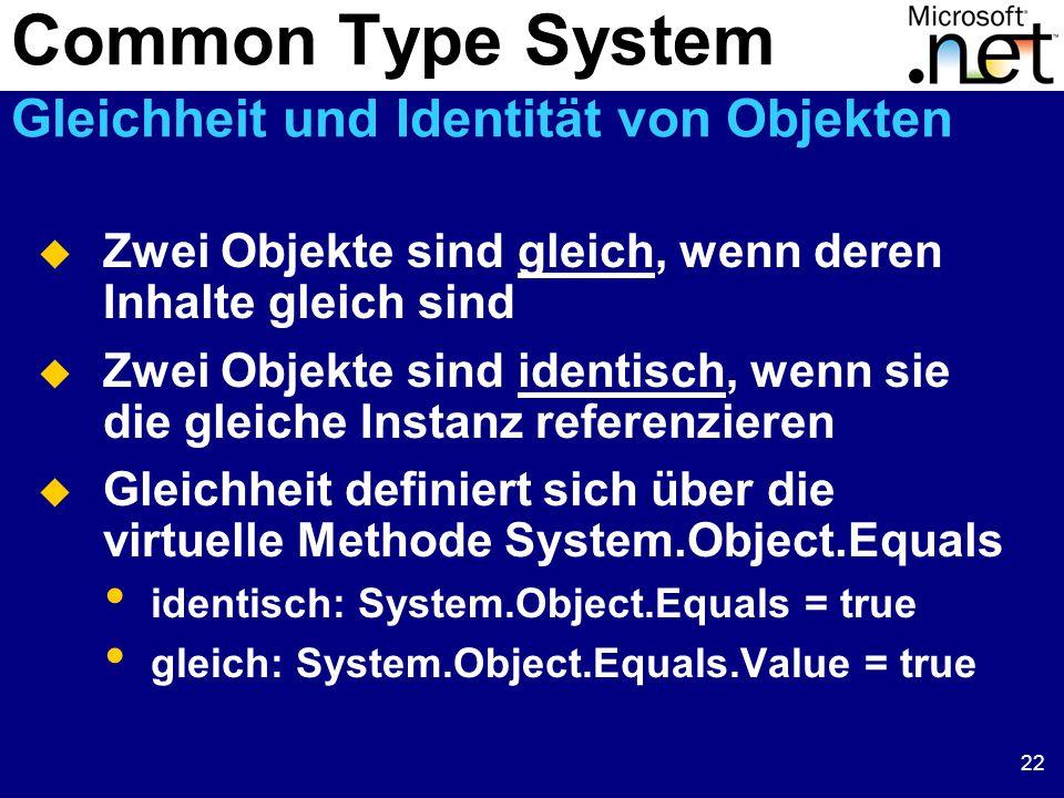 22  Zwei Objekte sind gleich, wenn deren Inhalte gleich sind  Zwei Objekte sind identisch, wenn sie die gleiche Instanz referenzieren  Gleichheit definiert sich über die virtuelle Methode System.Object.Equals identisch: System.Object.Equals = true gleich: System.Object.Equals.Value = true Common Type System Gleichheit und Identität von Objekten