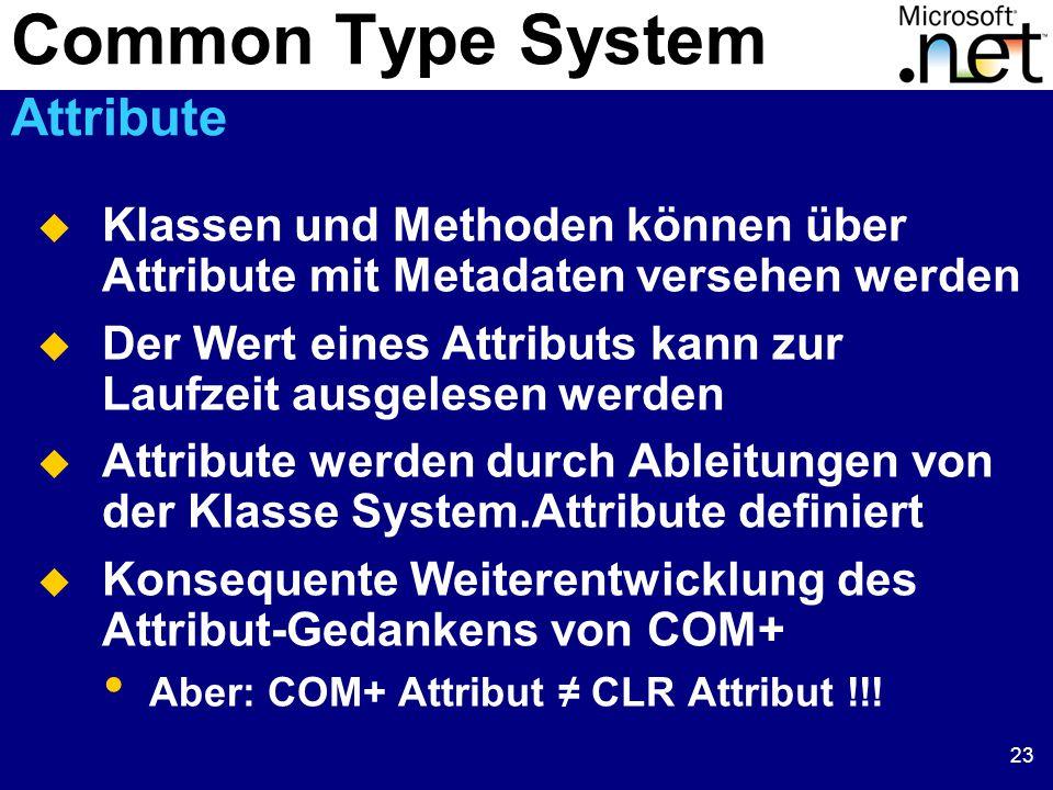 23  Klassen und Methoden können über Attribute mit Metadaten versehen werden  Der Wert eines Attributs kann zur Laufzeit ausgelesen werden  Attribute werden durch Ableitungen von der Klasse System.Attribute definiert  Konsequente Weiterentwicklung des Attribut-Gedankens von COM+ Aber: COM+ Attribut ≠ CLR Attribut !!.