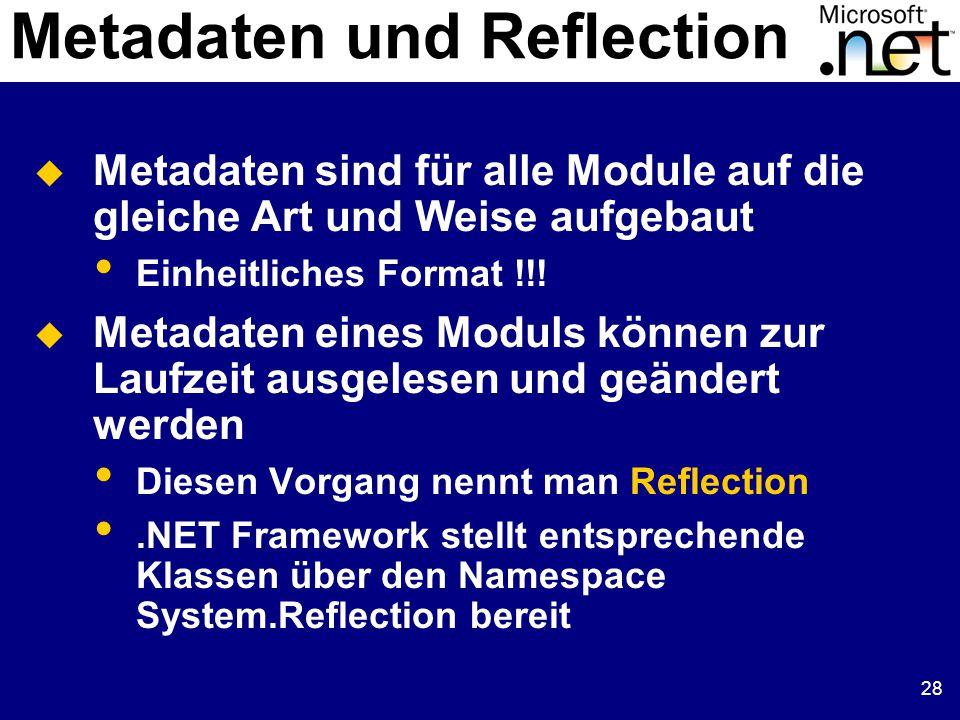 28  Metadaten sind für alle Module auf die gleiche Art und Weise aufgebaut Einheitliches Format !!.