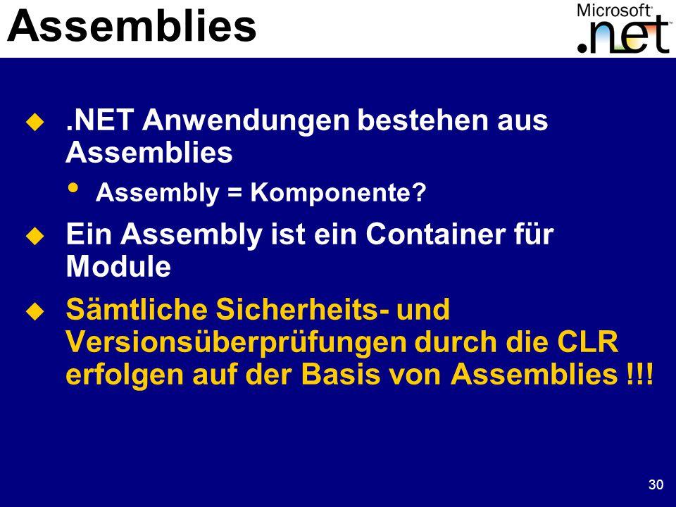 30 Assemblies .NET Anwendungen bestehen aus Assemblies Assembly = Komponente.