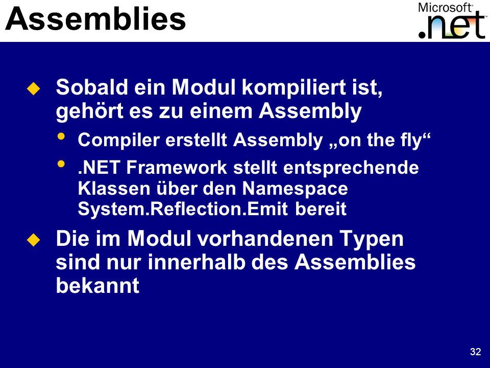 """32 Assemblies  Sobald ein Modul kompiliert ist, gehört es zu einem Assembly Compiler erstellt Assembly """"on the fly .NET Framework stellt entsprechende Klassen über den Namespace System.Reflection.Emit bereit  Die im Modul vorhandenen Typen sind nur innerhalb des Assemblies bekannt"""