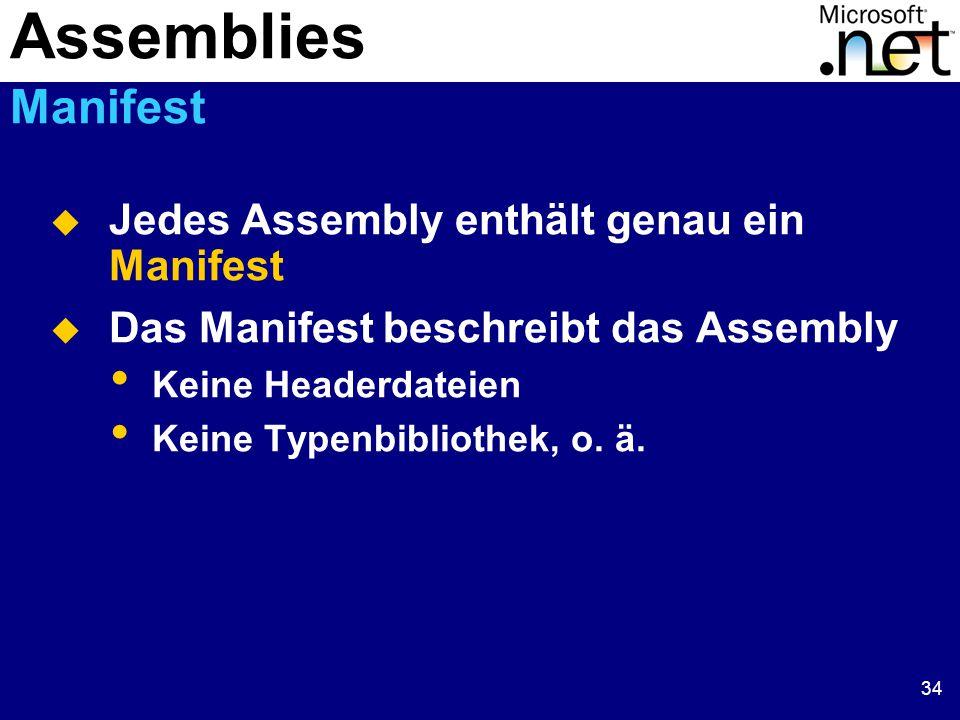 34  Jedes Assembly enthält genau ein Manifest  Das Manifest beschreibt das Assembly Keine Headerdateien Keine Typenbibliothek, o.