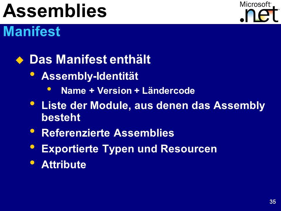 35  Das Manifest enthält Assembly-Identität Name + Version + Ländercode Liste der Module, aus denen das Assembly besteht Referenzierte Assemblies Exportierte Typen und Resourcen Attribute Assemblies Manifest