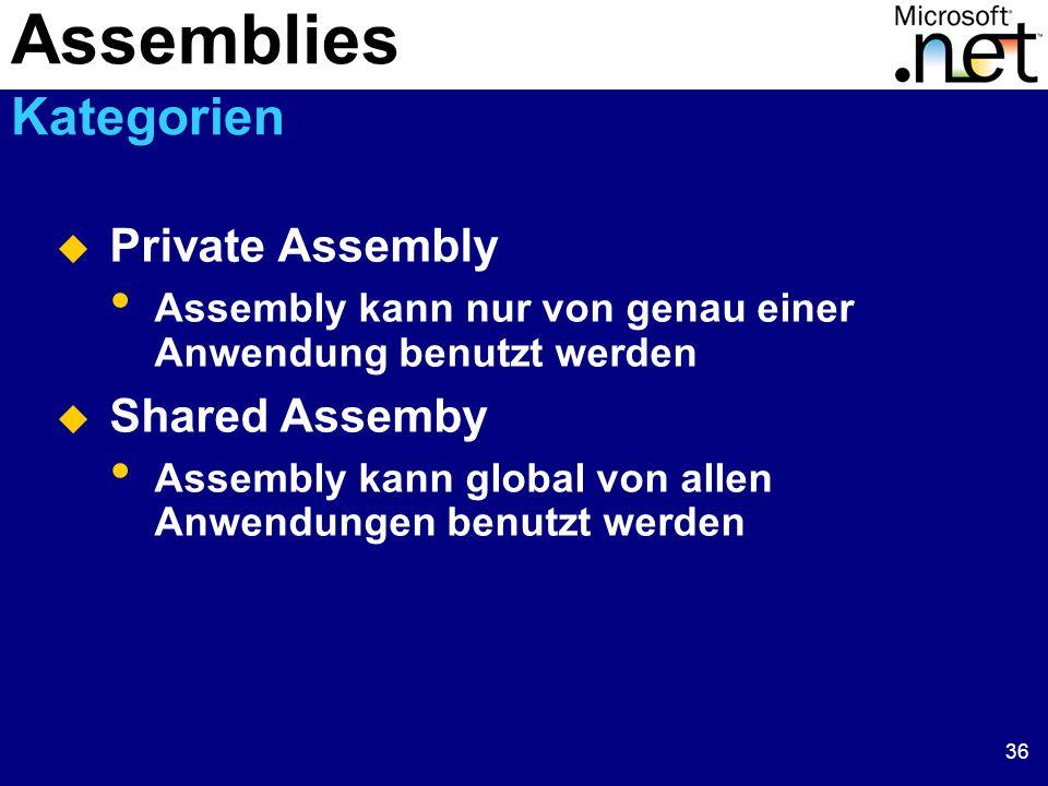 36  Private Assembly Assembly kann nur von genau einer Anwendung benutzt werden  Shared Assemby Assembly kann global von allen Anwendungen benutzt werden Assemblies Kategorien