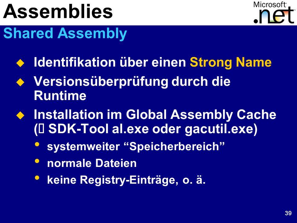 39  Identifikation über einen Strong Name  Versionsüberprüfung durch die Runtime  Installation im Global Assembly Cache (  SDK-Tool al.exe oder gacutil.exe) systemweiter Speicherbereich normale Dateien keine Registry-Einträge, o.