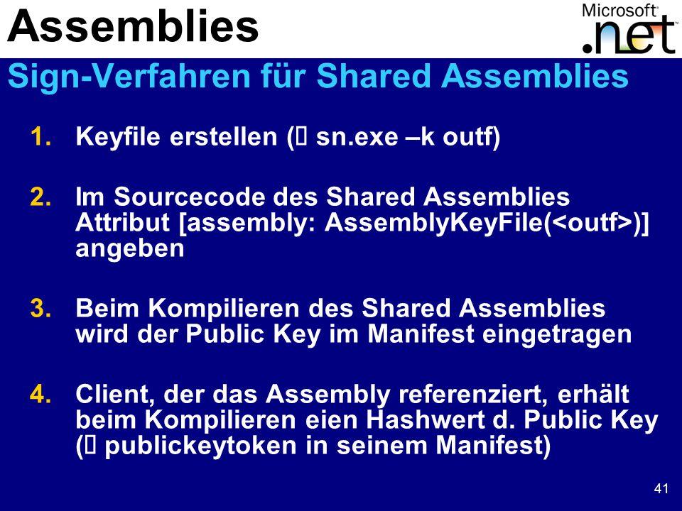 41 1.Keyfile erstellen (  sn.exe –k outf) 2.Im Sourcecode des Shared Assemblies Attribut [assembly: AssemblyKeyFile( )] angeben 3.Beim Kompilieren des Shared Assemblies wird der Public Key im Manifest eingetragen 4.Client, der das Assembly referenziert, erhält beim Kompilieren eien Hashwert d.