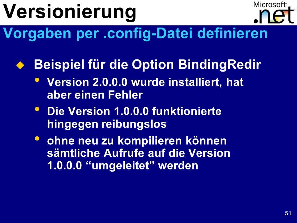 51  Beispiel für die Option BindingRedir Version 2.0.0.0 wurde installiert, hat aber einen Fehler Die Version 1.0.0.0 funktionierte hingegen reibungslos ohne neu zu kompilieren können sämtliche Aufrufe auf die Version 1.0.0.0 umgeleitet werden Versionierung Vorgaben per.config-Datei definieren