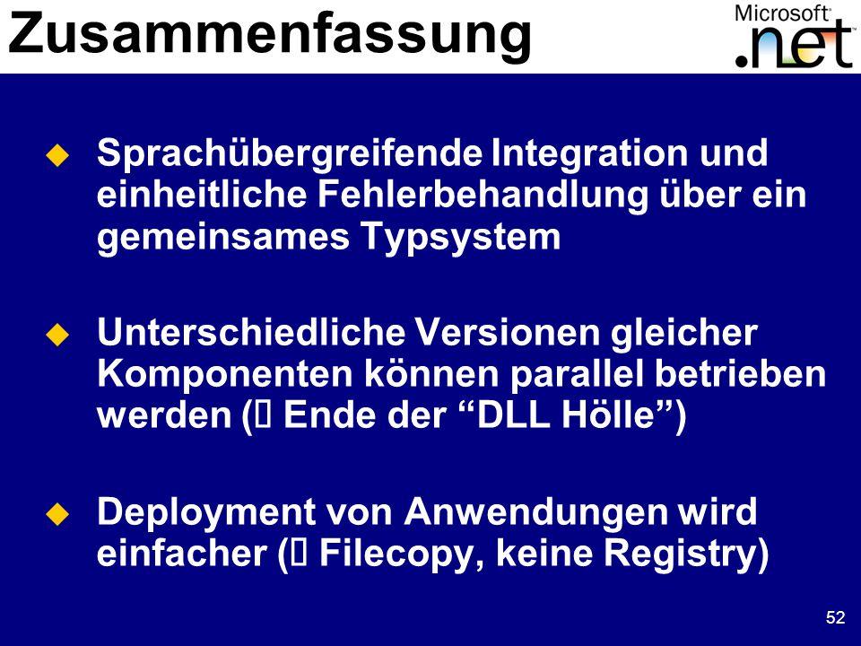 52  Sprachübergreifende Integration und einheitliche Fehlerbehandlung über ein gemeinsames Typsystem  Unterschiedliche Versionen gleicher Komponenten können parallel betrieben werden (  Ende der DLL Hölle )  Deployment von Anwendungen wird einfacher (  Filecopy, keine Registry) Zusammenfassung
