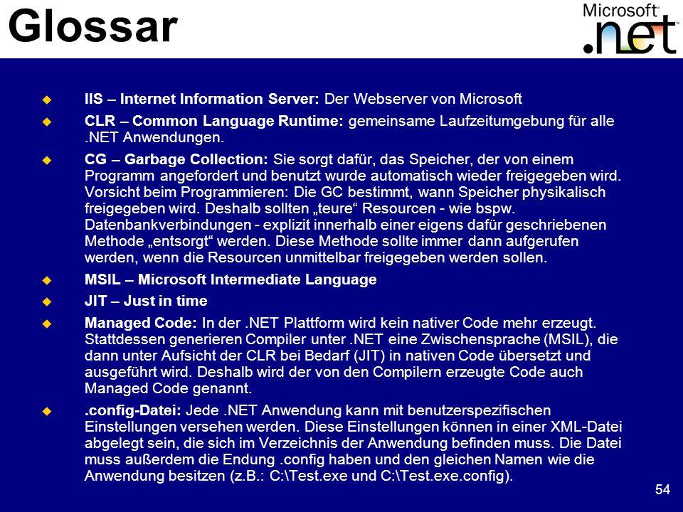 54 Glossar  IIS – Internet Information Server: Der Webserver von Microsoft  CLR – Common Language Runtime: gemeinsame Laufzeitumgebung für alle.NET Anwendungen.