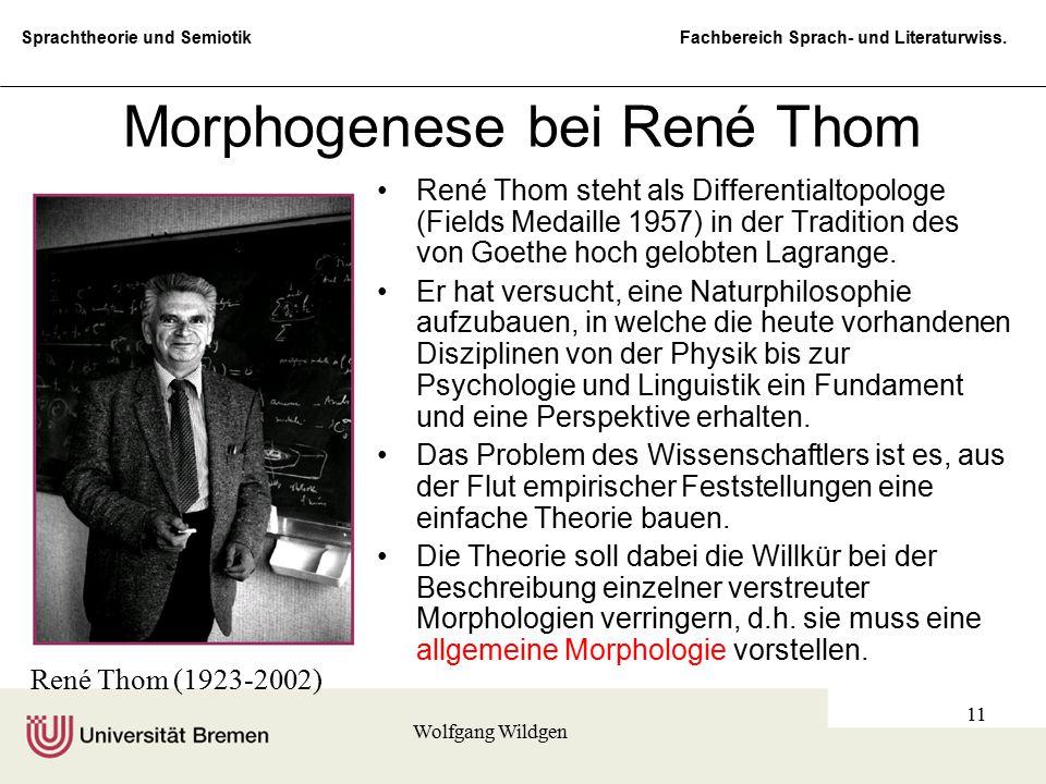 Sprachtheorie und Semiotik Fachbereich Sprach- und Literaturwiss. Wolfgang Wildgen 11 Morphogenese bei René Thom René Thom steht als Differentialtopol