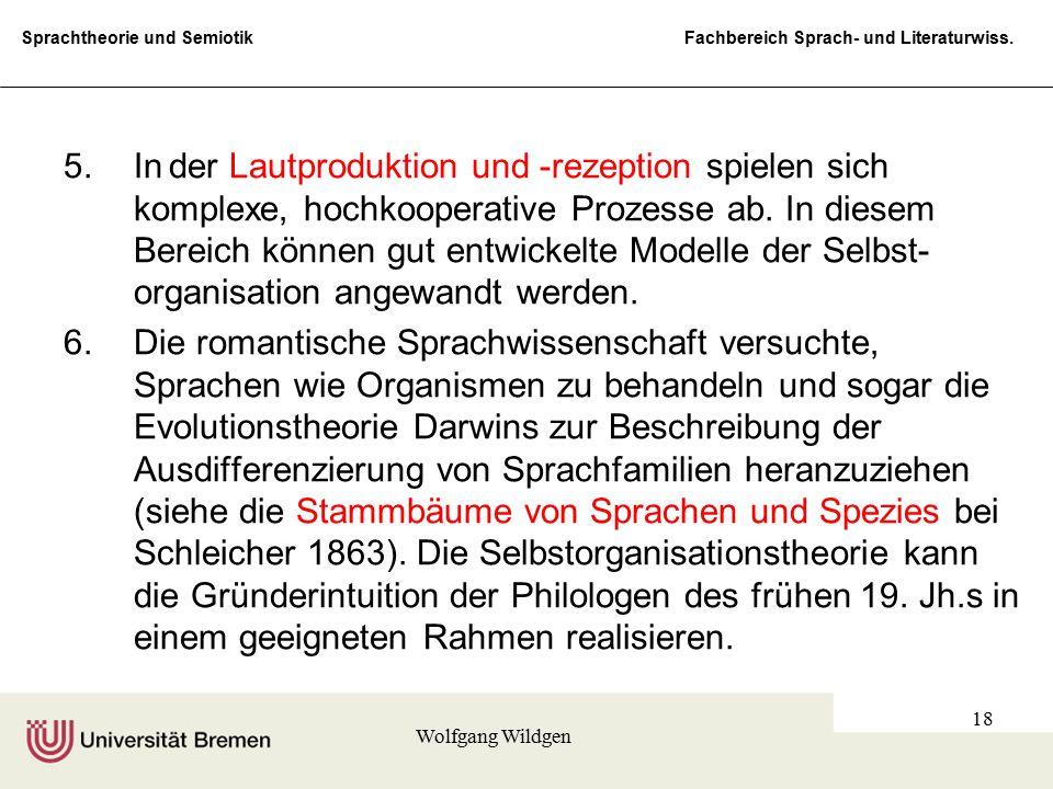 Sprachtheorie und Semiotik Fachbereich Sprach- und Literaturwiss. Wolfgang Wildgen 18 5.Inder Lautproduktion und -rezeption spielen sich komplexe, hoc