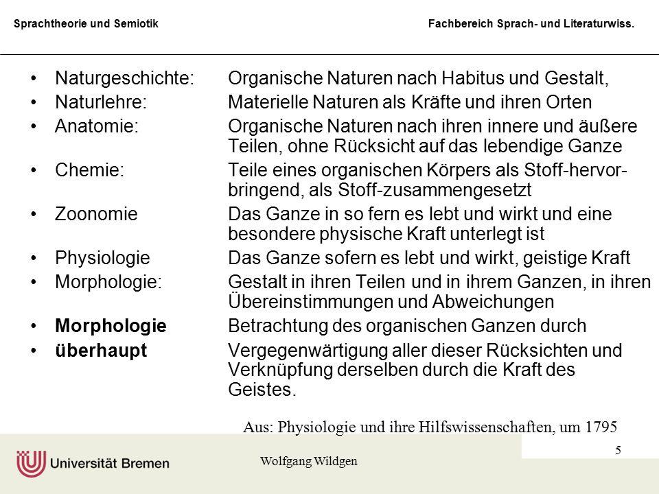 Sprachtheorie und Semiotik Fachbereich Sprach- und Literaturwiss. Wolfgang Wildgen 5 Naturgeschichte:Organische Naturen nach Habitus und Gestalt, Natu