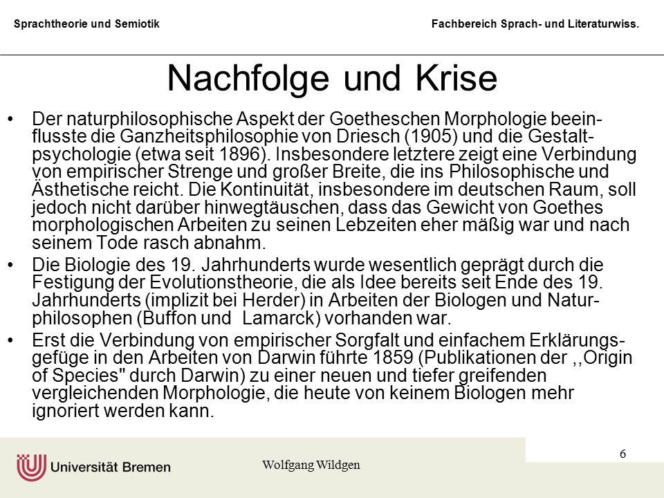 Sprachtheorie und Semiotik Fachbereich Sprach- und Literaturwiss. Wolfgang Wildgen 6 Nachfolge und Krise Der naturphilosophische Aspekt der Goethesche