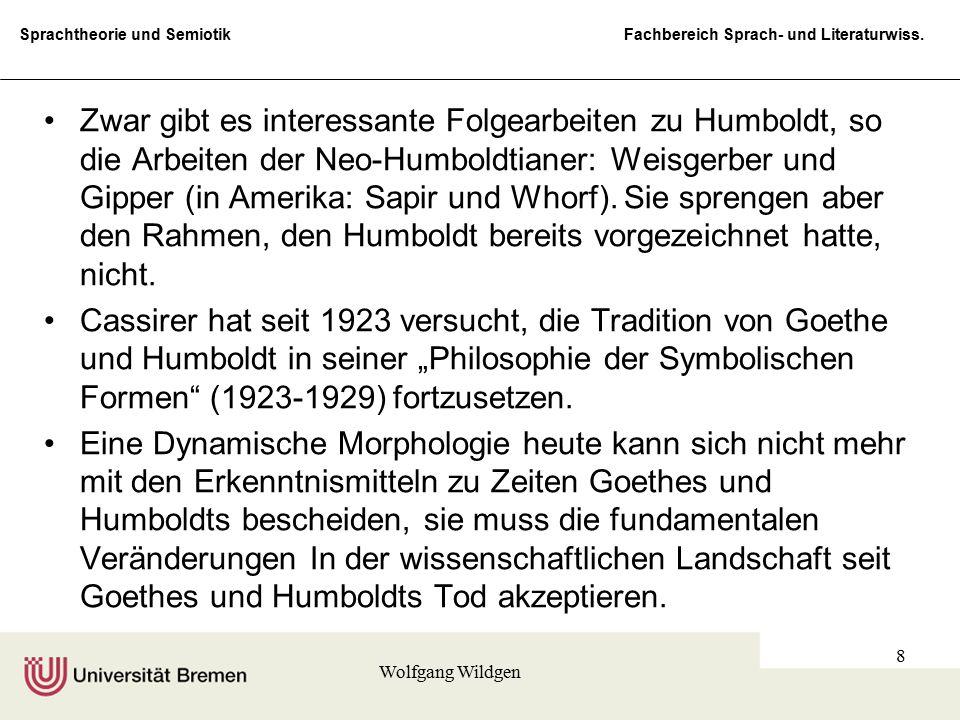 Sprachtheorie und Semiotik Fachbereich Sprach- und Literaturwiss. Wolfgang Wildgen 8 Zwar gibt es interessante Folgearbeiten zu Humboldt, so die Arbei