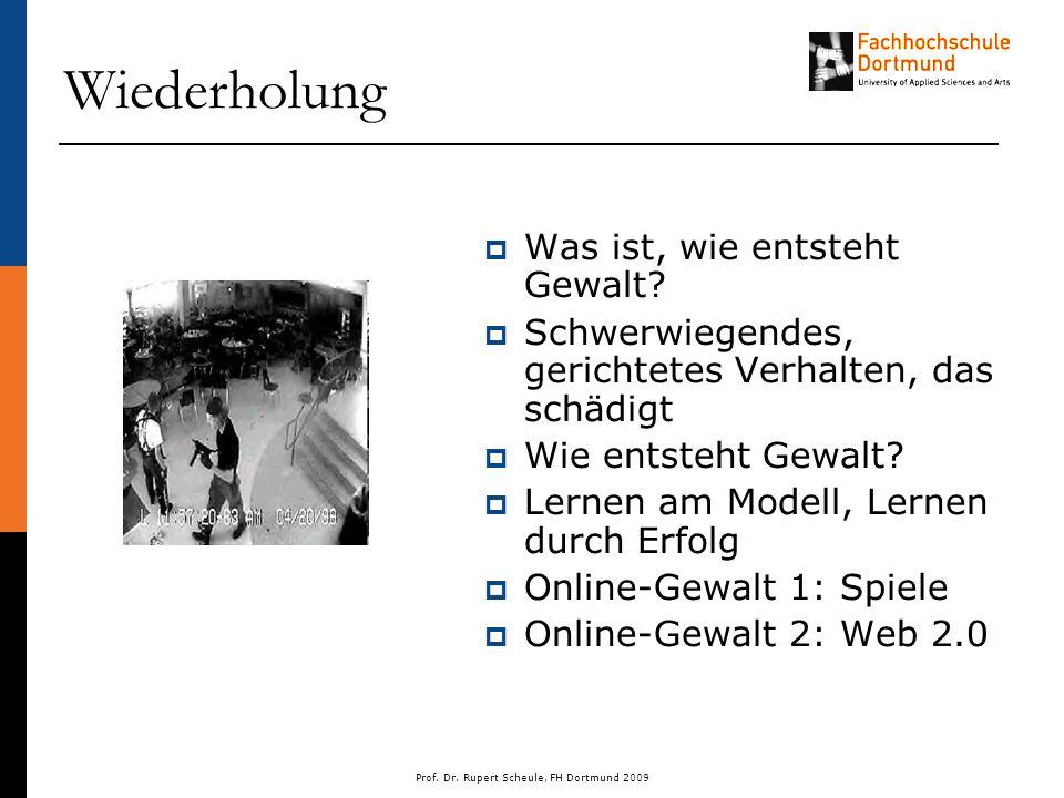 Prof. Dr. Rupert Scheule, FH Dortmund 2009 Wiederholung  Was ist, wie entsteht Gewalt.