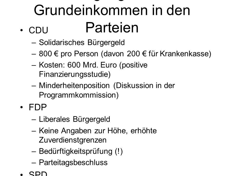 CDU –Solidarisches Bürgergeld –800 € pro Person (davon 200 € für Krankenkasse) –Kosten: 600 Mrd. Euro (positive Finanzierungsstudie) –Minderheitenposi