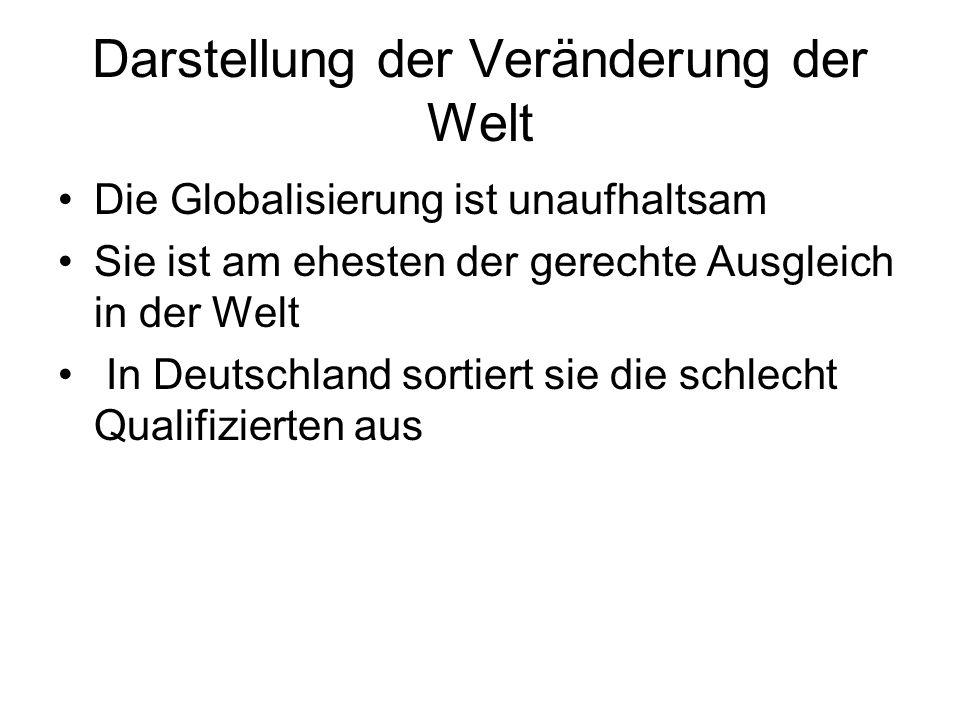 Darstellung der Veränderung der Welt Die Globalisierung ist unaufhaltsam Sie ist am ehesten der gerechte Ausgleich in der Welt In Deutschland sortiert