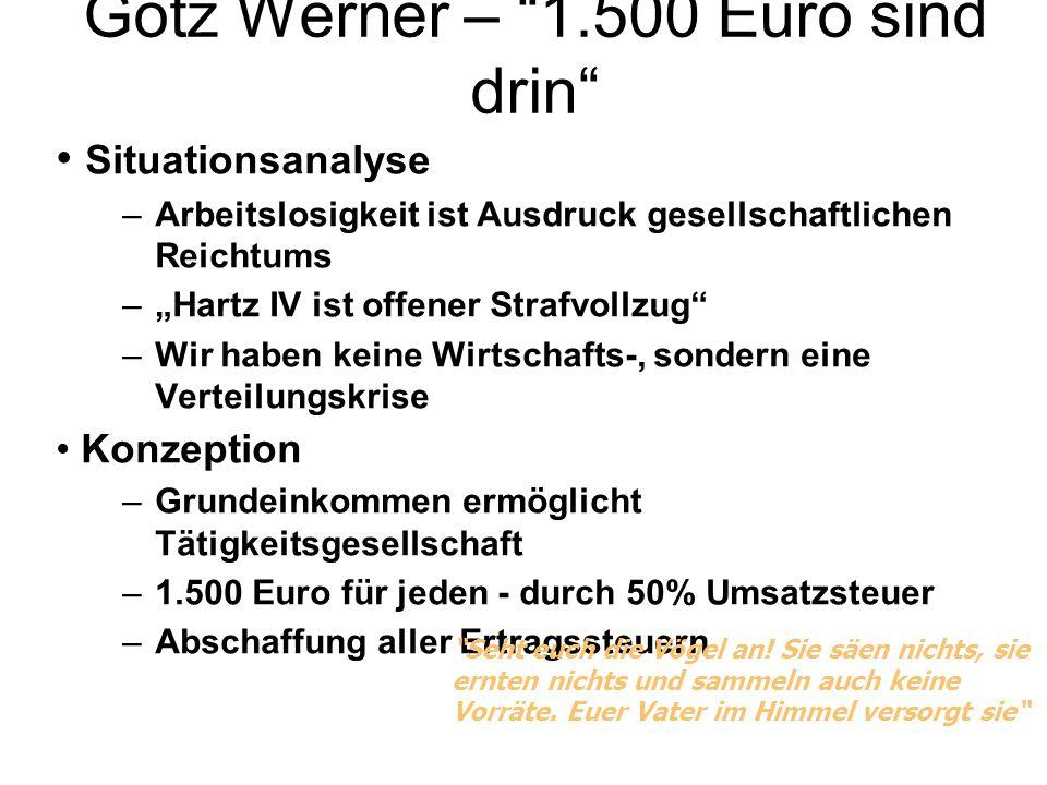 """Götz Werner – """"1.500 Euro sind drin"""" Situationsanalyse –Arbeitslosigkeit ist Ausdruck gesellschaftlichen Reichtums –""""Hartz IV ist offener Strafvollzug"""