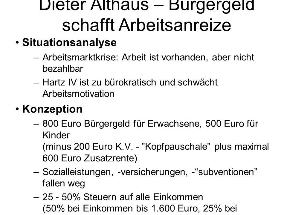 Dieter Althaus – Bürgergeld schafft Arbeitsanreize Situationsanalyse –Arbeitsmarktkrise: Arbeit ist vorhanden, aber nicht bezahlbar –Hartz IV ist zu b