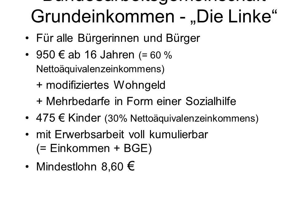 """Bundesarbeitsgemeinschaft Grundeinkommen - """"Die Linke"""" Für alle Bürgerinnen und Bürger 950 € ab 16 Jahren (= 60 % Nettoäquivalenzeinkommens) + modifiz"""