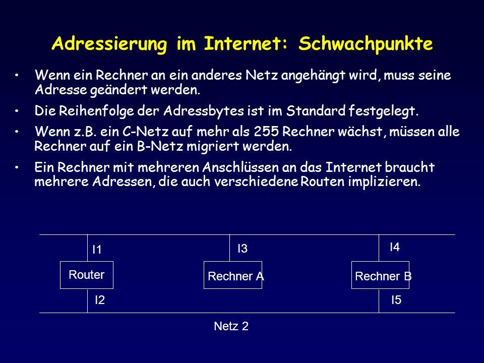 Adressierung im Internet: Schwachpunkte Wenn ein Rechner an ein anderes Netz angehängt wird, muss seine Adresse geändert werden. Die Reihenfolge der A