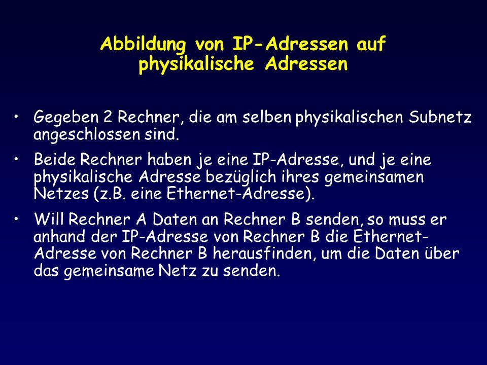 Abbildung von IP-Adressen auf physikalische Adressen Gegeben 2 Rechner, die am selben physikalischen Subnetz angeschlossen sind. Beide Rechner haben j