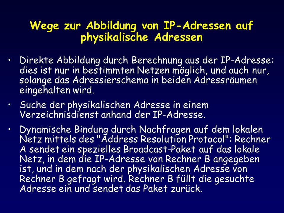 Wege zur Abbildung von IP-Adressen auf physikalische Adressen Direkte Abbildung durch Berechnung aus der IP-Adresse: dies ist nur in bestimmten Netzen