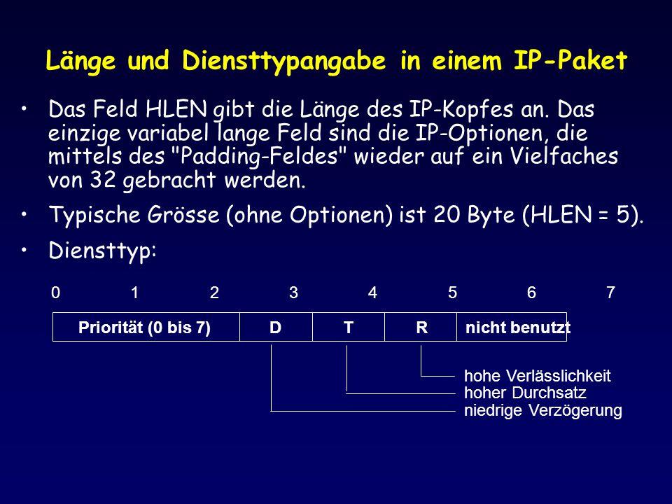 Länge und Diensttypangabe in einem IP-Paket Das Feld HLEN gibt die Länge des IP-Kopfes an. Das einzige variabel lange Feld sind die IP-Optionen, die m